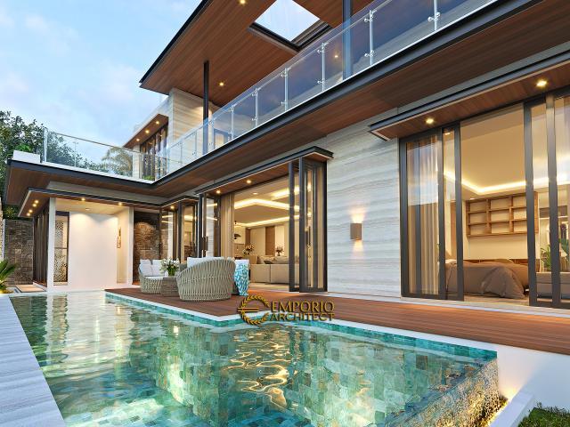 Desain Tampak Detail Kolam Rumah Modern 2 Lantai Ibu Niar di Bekasi, Jawa Barat