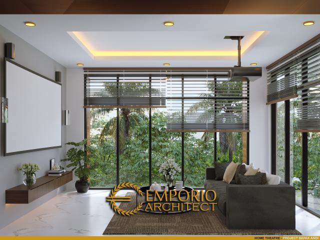 Desain Home Theatre Rumah Hook Modern 2.5 Lantai Bapak Andi di Jakarta Utara
