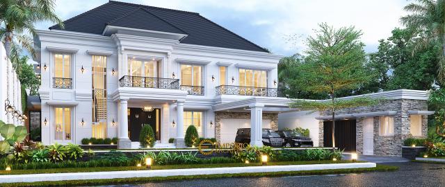 Desain Rumah Klasik 2 Lantai Bapak Axcel di Palangka Raya, Kalimantan Tengah - Tampak Depan