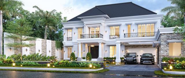 Desain Tampak Depan 2 Rumah Klasik 2 Lantai Bapak Axcel di Palangka Raya, Kalimantan Tengah