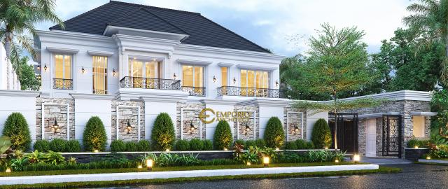 Desain Tampak Depan Dengan Pagar Rumah Klasik 2 Lantai Bapak Axcel di Palangka Raya, Kalimantan Tengah