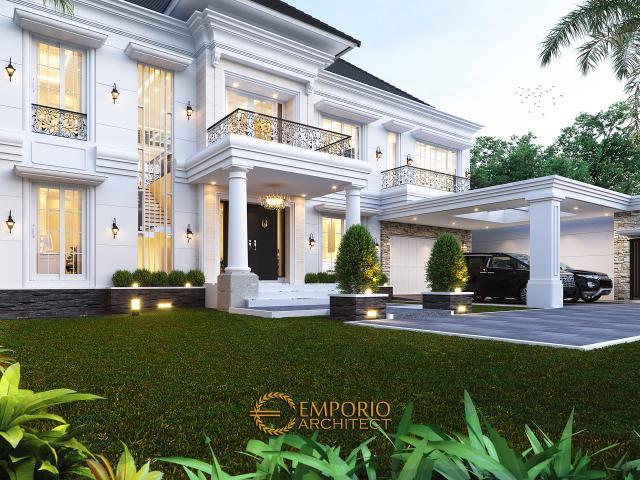 Desain Tampak Detail Depan Rumah Klasik 2 Lantai Bapak Axcel di Palangka Raya, Kalimantan Tengah