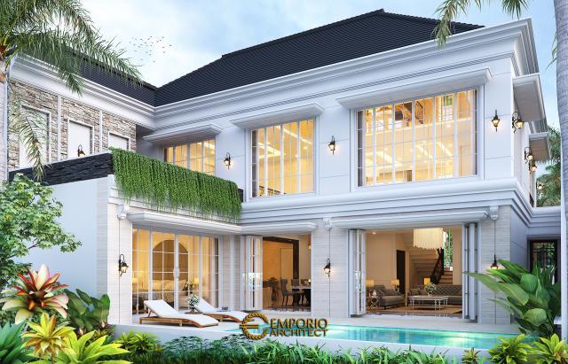 Desain Tampak Belakang Rumah Klasik 2 Lantai Bapak Axcel di Palangka Raya, Kalimantan Tengah