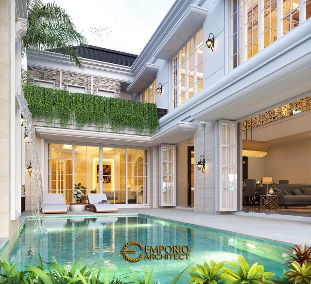 Desain Tampak Detail Belakang Rumah Klasik 2 Lantai Bapak Axcel di Palangka Raya, Kalimantan Tengah