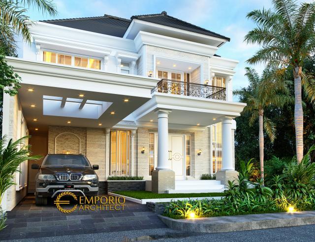 Desain Tampak Depan Rumah Klasik 2 Lantai Ibu Titin di Banjarmasin, Kalimantan Selatan