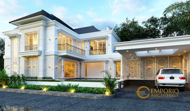 Desain Tampak Depan 2 Rumah Klasik 2 Lantai Ibu Titin di Banjarmasin, Kalimantan Selatan