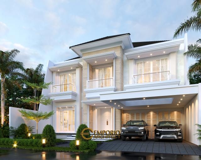 Desain Rumah Klasik 2 Lantai Bapak Rudolfo Sinaga di Jakarta - Tampak Depan