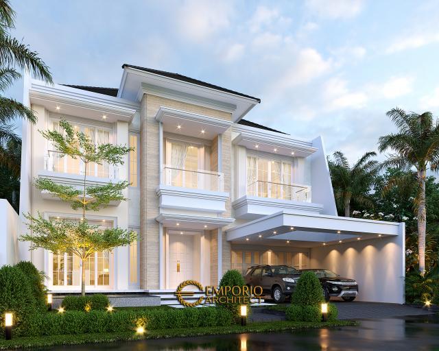 Desain Tampak Depan 2 Rumah Klasik 2 Lantai Bapak Rudolfo Sinaga di Jakarta