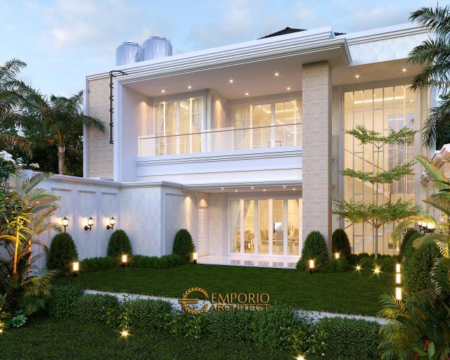 Desain Tampak Belakang Rumah Klasik 2 Lantai Bapak Rudolfo Sinaga di Jakarta