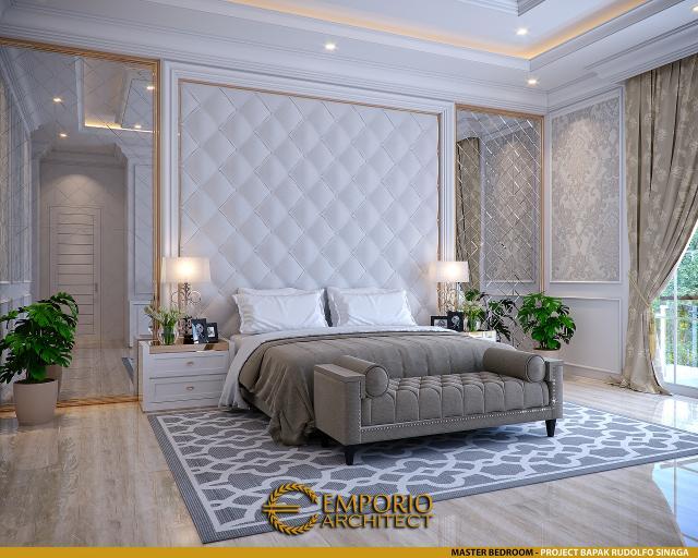 Desain Kamar Tidur Utama Rumah Klasik 2 Lantai Bapak Rudolfo Sinaga di Jakarta