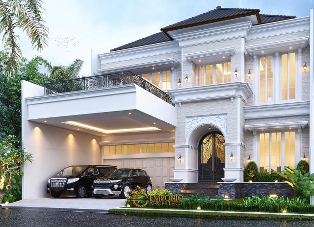 Desain Rumah Klasik 2 Lantai Bapak Mitchel di Bogor, Jawa Barat - Tampak Depan