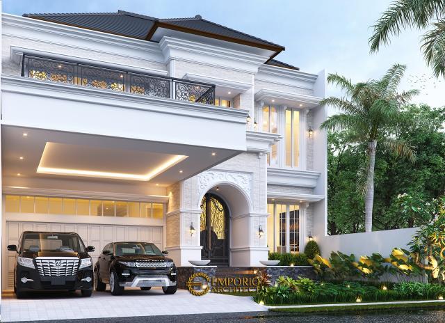 Desain Tampak Depan 2 Rumah Klasik 2 Lantai Bapak Mitchel di Bogor, Jawa Barat