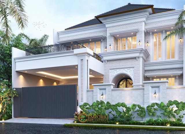 Desain Tampak Depan Dengan Pagar Rumah Klasik 2 Lantai Bapak Mitchel di Bogor, Jawa Barat
