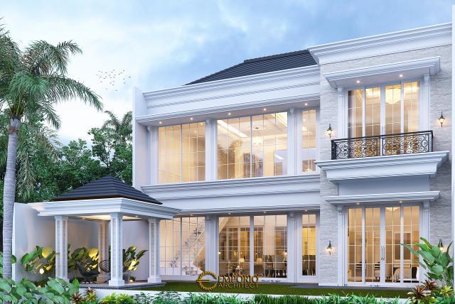 Desain Tampak Belakang Rumah Klasik 2 Lantai Bapak Mitchel di Bogor, Jawa Barat