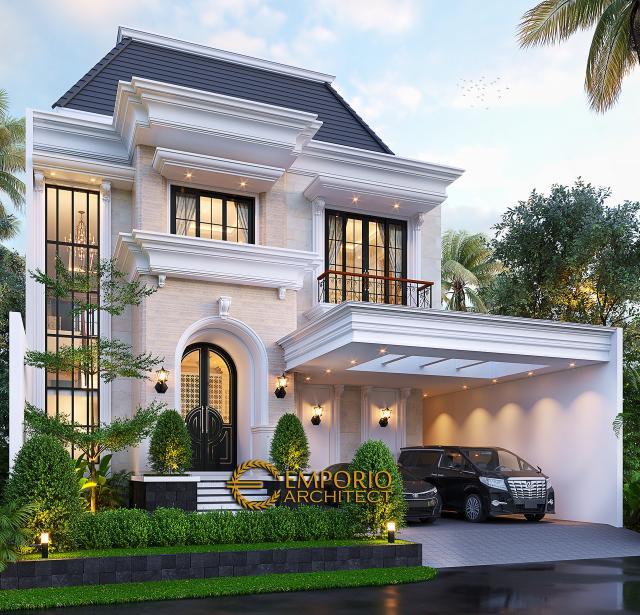 Desain Rumah Klasik 2 Lantai Ibu Inne di Jakarta - Tampak Depan