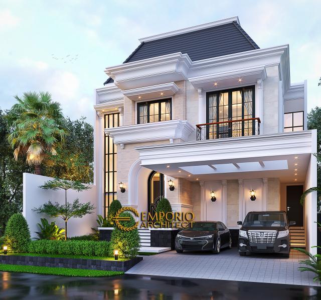 Desain Tampak Depan 2 Rumah Klasik 2 Lantai Ibu Inne di Jakarta