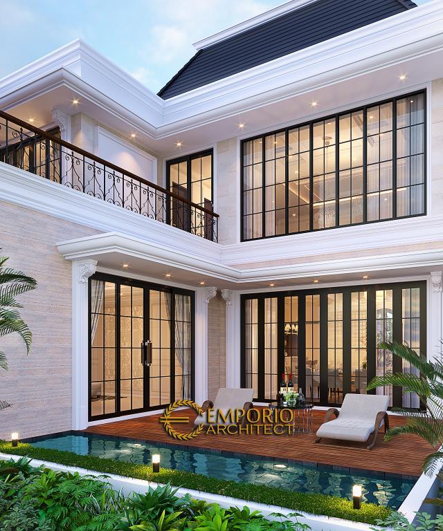 Desain Tampak Belakang Rumah Klasik 2 Lantai Ibu Inne di Jakarta