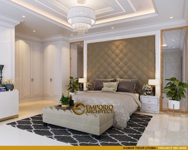 Desain Kamar Tidur Utama Rumah Klasik 2 Lantai Ibu Inne di Jakarta