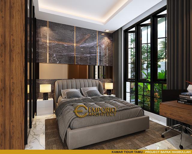 Desain Kamar Tidur Tamu Rumah Klasik 2 Lantai Bapak Hasbullah di Jakarta