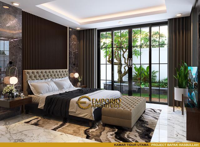 Desain Kamar Tidur Utama Rumah Klasik 2 Lantai Bapak Hasbullah di Jakarta