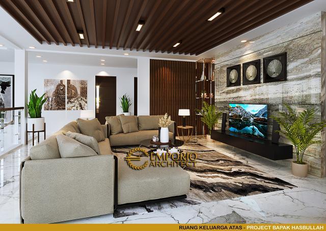 Desain Ruang Keluarga Atas Rumah Klasik 2 Lantai Bapak Hasbullah di Jakarta