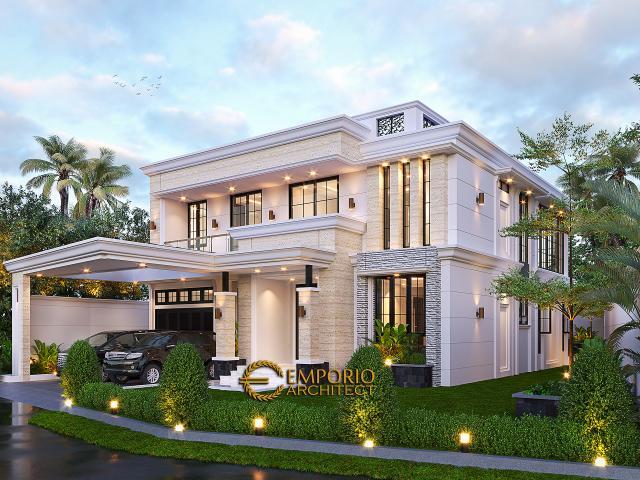 Desain Rumah Klasik 2 Lantai Bapak Hasbullah di Jakarta - Tampak Depan Tanpa Pagar