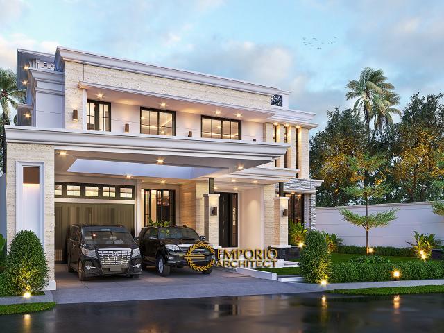 Desain Tampak Depan Tanpa Pagar 2 Rumah Klasik 2 Lantai Bapak Hasbullah di Jakarta