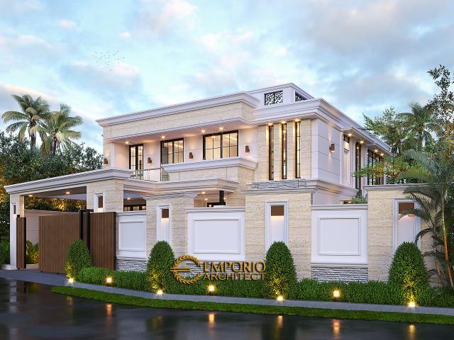 Desain Tampak Depan Dengan Pagar Rumah Klasik 2 Lantai Bapak Hasbullah di Jakarta