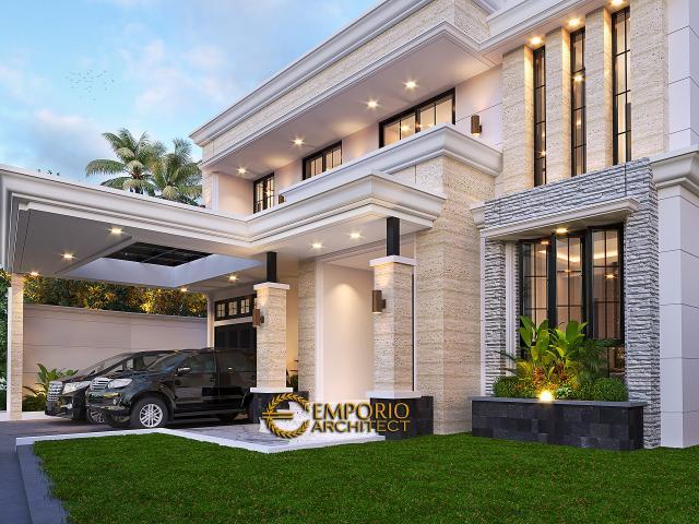 Desain Tampak Detail Depan Rumah Klasik 2 Lantai Bapak Hasbullah di Jakarta