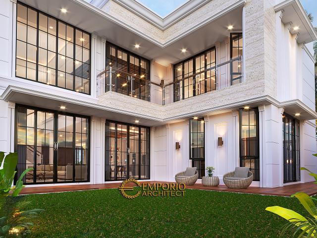 Desain Tampak Detail Belakang Rumah Klasik 2 Lantai Bapak Hasbullah di Jakarta