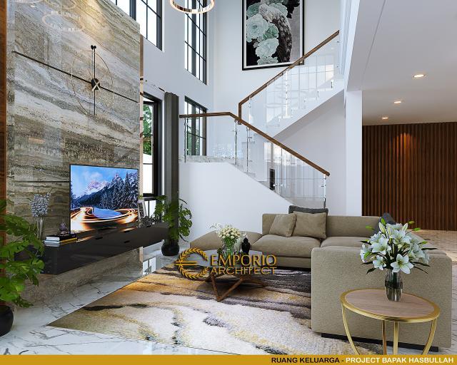 Desain Ruang Keluarga Rumah Klasik 2 Lantai Bapak Hasbullah di Jakarta