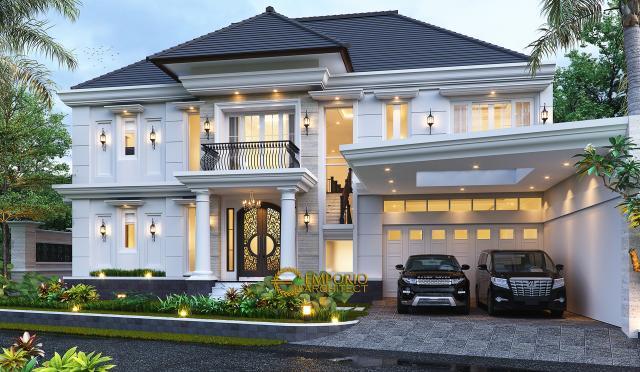 Desain Tampak Depan Rumah Klasik 2 Lantai Bapak Mohammad di Surabaya