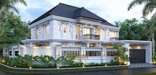 Desain Tampak Hook Dengan Pagar Rumah Klasik 2 Lantai Bapak Mohammad di Surabaya