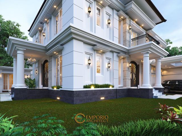 Desain Tampak Detail Depan Rumah Klasik 2 Lantai Bapak Mohammad di Surabaya