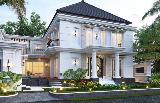 Desain Tampak Samping Rumah Klasik 2 Lantai Bapak Mohammad di Surabaya