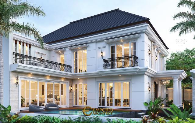 Desain Tampak Belakang Rumah Klasik 2 Lantai Bapak Mohammad di Surabaya