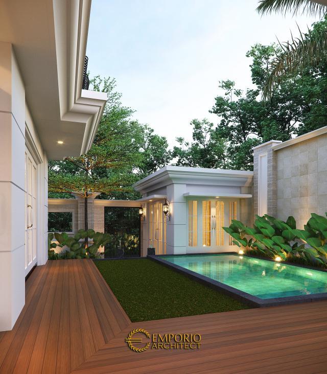 Desain Tampak Detail Belakang Rumah Klasik 2 Lantai Bapak Mohammad di Surabaya
