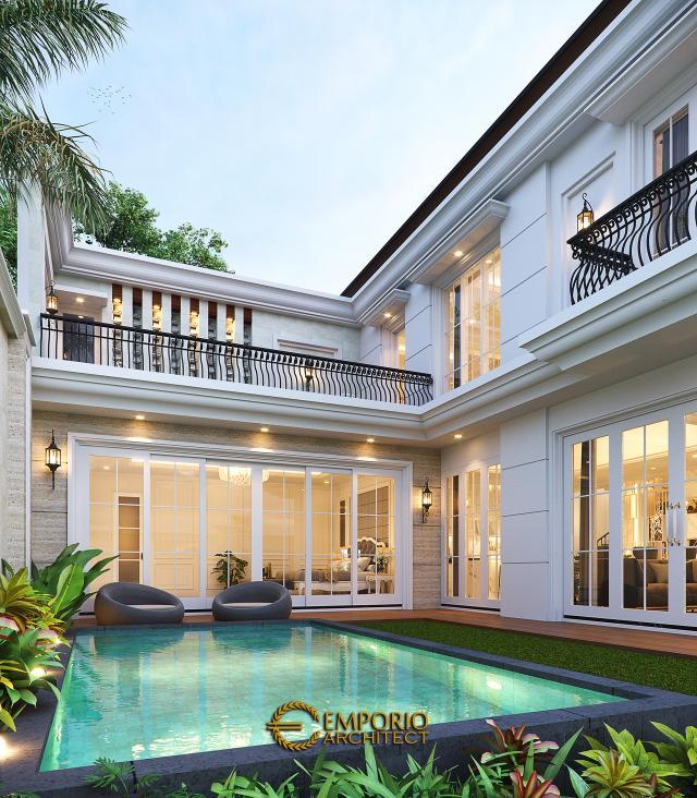 Desain Area Kolam Rumah Klasik 2 Lantai Bapak Mohammad di Surabaya