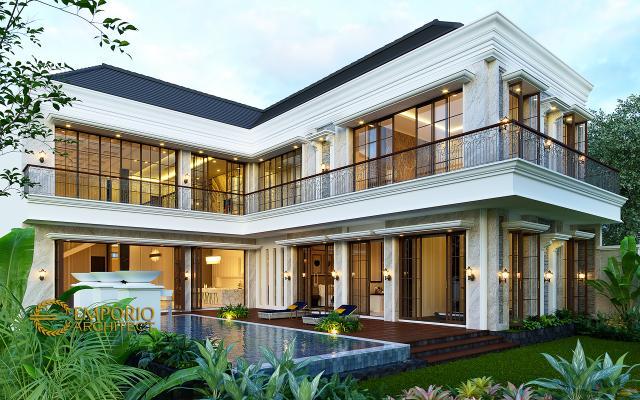 Desain Tampak Belakang Rumah Klasik 2 Lantai Ibu Sari di Makassar, Sulawesi Selatan