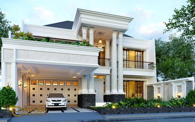 Desain Tampak Depan 2 Rumah Klasik 2 Lantai Ibu Sari di Makassar, Sulawesi Selatan