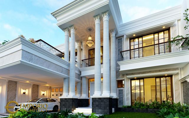 Desain Tampak Detail Depan Rumah Klasik 2 Lantai Ibu Sari di Makassar, Sulawesi Selatan