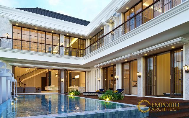 Desain Tampak Detail Belakang Rumah Klasik 2 Lantai Ibu Sari di Makassar, Sulawesi Selatan