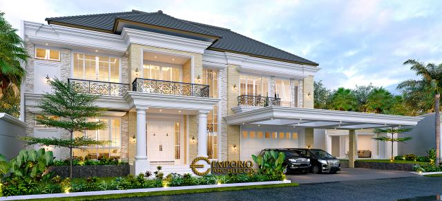 Desain Rumah Klasik 2 Lantai Bapak Alfi di Bekasi - Tampak Depan Tanpa Pagar