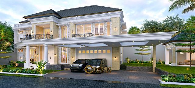Desain Tampak Depan Tanpa Pagar 2 Rumah Klasik 2 Lantai Bapak Alfi di Bekasi