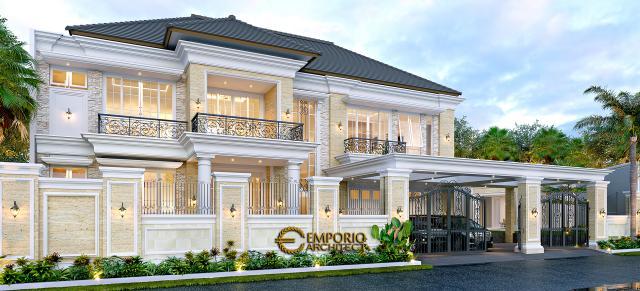 Desain Tampak Depan Dengan Pagar Rumah Klasik 2 Lantai Bapak Alfi di Bekasi