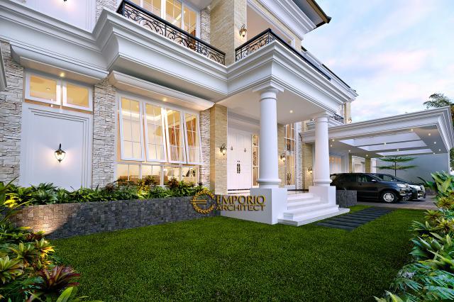 Desain Tampak Detail Depan Rumah Klasik 2 Lantai Bapak Alfi di Bekasi