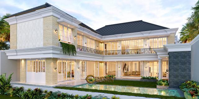 Desain Tampak Belakang Rumah Klasik 2 Lantai Bapak Alfi di Bekasi