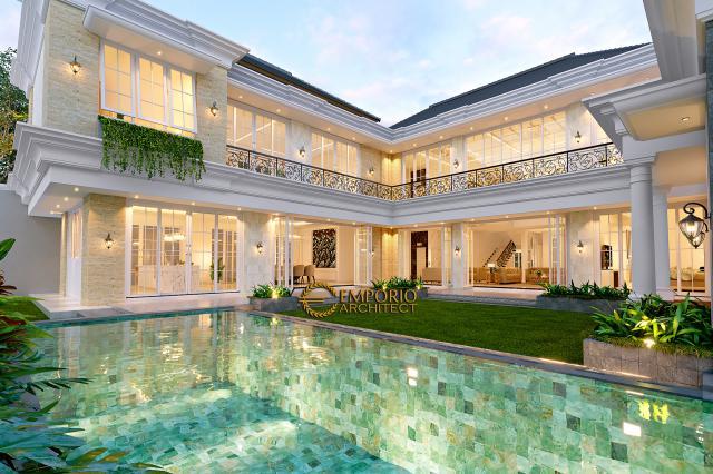 Desain Tampak Detail Belakang 1 Rumah Klasik 2 Lantai Bapak Alfi di Bekasi