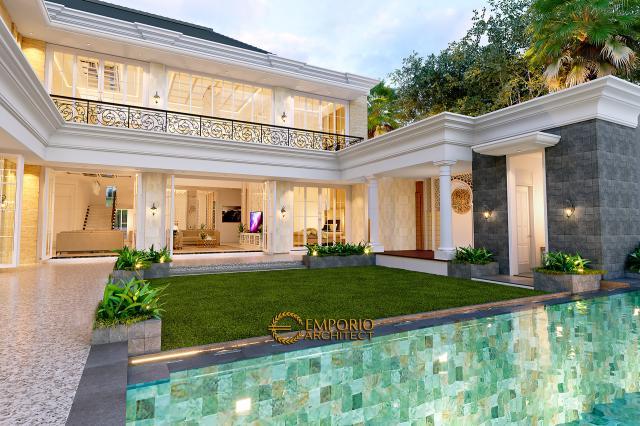 Desain Tampak Detail Belakang 2 Rumah Klasik 2 Lantai Bapak Alfi di Bekasi