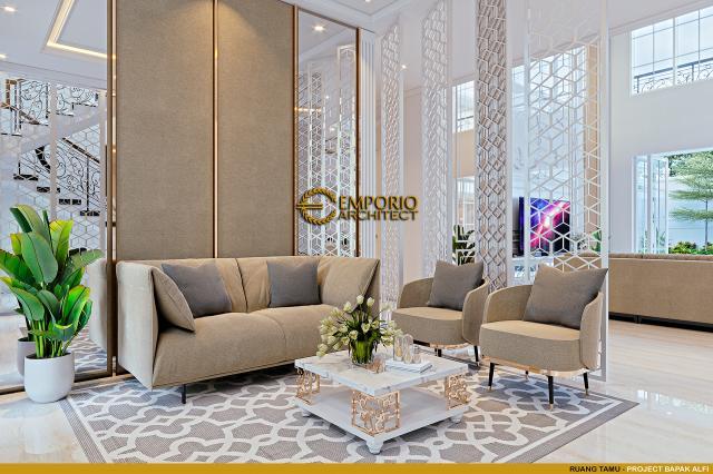 Desain Ruang Tamu Rumah Klasik 2 Lantai Bapak Alfi di Bekasi